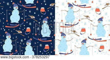 Vector Winter Set With Two Seamless Patterns With Snowmen Wearing Knitted Hats, Skis, Birds On Branc