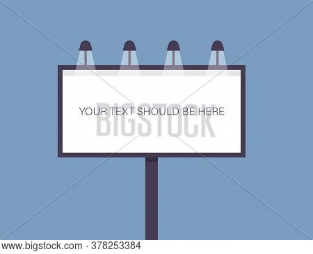 Billboard Template With Editable Text. Outdoor Banner With White Box And Lights. Isolated Advertisin