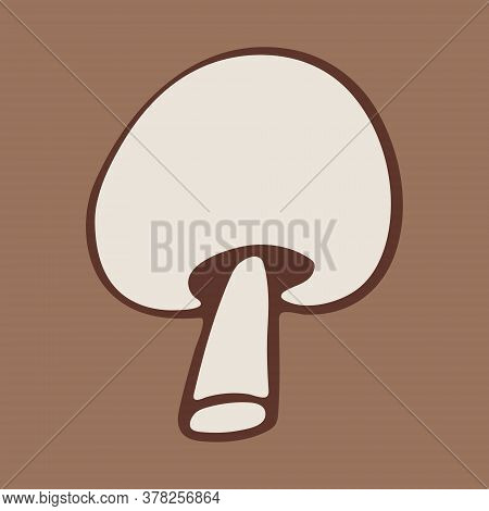 Vector Doodle Illustration Of Champignon Mushroom. Hand Drawn Healthy Farm Vegetable Isolated On Whi