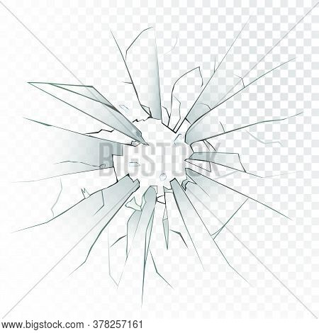 High Detailed Realistic Broken Glass Isolated On Transparent Background. With Cracks And Bullet Mark