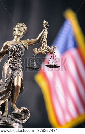 Law And Justice, Legality Concept, Scales Of Justice, Justitia, Lady Justice In Front Of The America