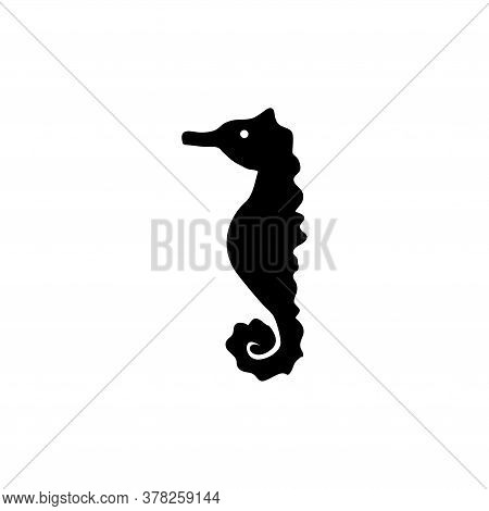 Sea Horse Silhouette, Underwater Animal. Flat Vector Icon Illustration. Simple Black Symbol On White