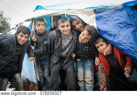 Aleppo, Syria 15 February 2017 A Group Photo Of Refugee Children In The Camp After They Left School