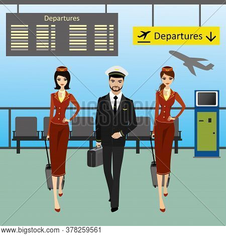 Cabin Crew Walks On An Airport With Luggage