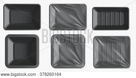 Black Plastic Food Container. Styrofoam Tray For Frozen Food And Fresh Meat, Fish, Chicken. Empty Fo