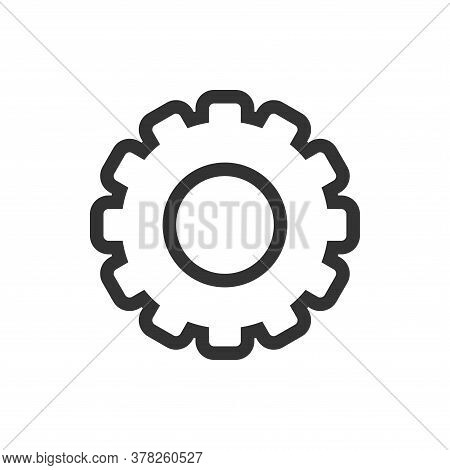 Gear Line Icon Isolated On White Background. Gear A Simple Sign Line Icon. Gear Line Icon Vector Tre