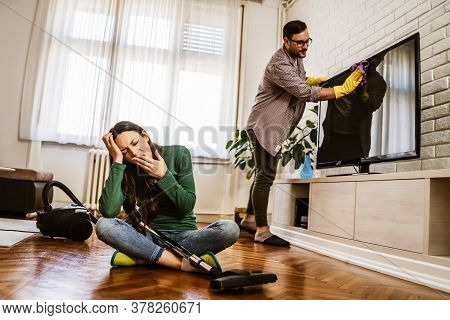 Woman Is Tired Of Cleaning The Apartment.