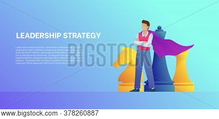 Leadership Strategy Cartoon Banner With Chess Figures. Concept Leadership Strategy And Business. Bus