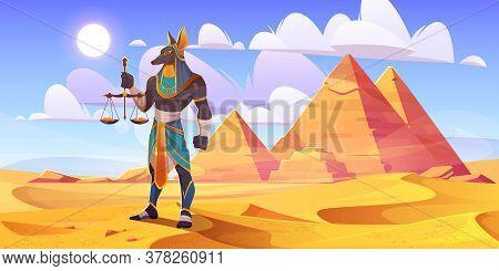Anubis Egyptian God, Ancient Egypt Deity With Human Body And Jackal Head Wearing Royal Pharaoh Royal