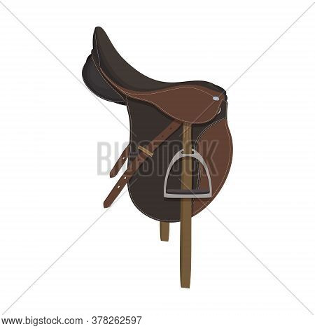 The Horse Saddle Is Isolated On The White Background.