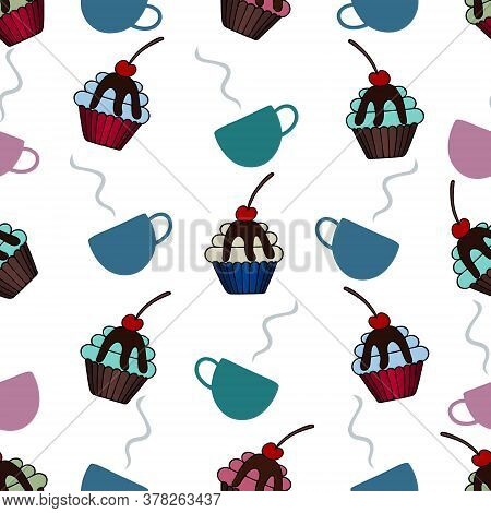 Cup With Coffee And Cupcake. An Endlessly Repeating Ornament. Isolated Colorless Background. Seamles