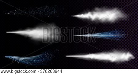 White Dust Spray Isolated On Transparent Background. Vector Realistic Set Of Curve Smoke Or Powder W