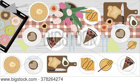 Top View Of A Table With Lunch Or Breakfast For Two. Vector Illustration Of A Dining Table With Coff
