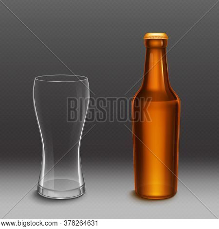 Beer Bottle And Empty Tall Glass. Vector Realistic Mockup Of Blank Lager Or Dark Beer Bottle From Br