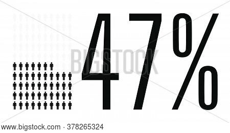 Forty Seven Percent People Graphic, 47 Percentage Diagram. Vector People Icon Chart Design For Web U