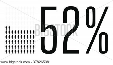 Fifty Two Percent People Graphic, 52 Percentage Diagram. Vector People Icon Chart Design For Web Ui