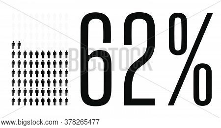 Sixty Two Percent People Graphic, 62 Percentage Diagram. Vector People Icon Chart Design For Web Ui