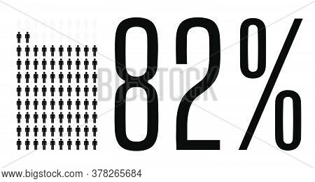Eighty Two Percent People Graphic, 82 Percentage Diagram. Vector People Icon Chart Design For Web Ui