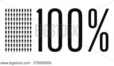 Hundred Percent People Graphic, 100 Percentage Diagram. Vector People Icon Chart Design For Web Ui D