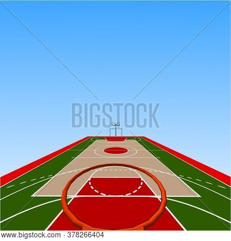 Vector Cartoon Background Of Basketball Court On Street. Outdoor Sport Arena With Baskets For Game.