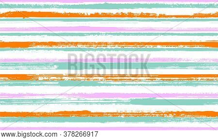 Ink Thin Rough Stripes Vector Seamless Pattern. Old Texture Swimwear Marine Design. Scratchy Texture