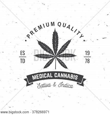 Medical Cannabis Badge, Label With Cannabis Leaf And Ribbon. Vector. Vintage Typography Logo Design