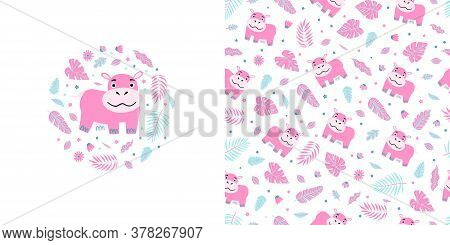 Seamless Kid Pattern And Illustration With Pink Hippo And Leaves. Cute Pajama Design.