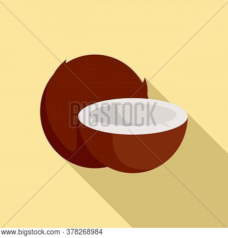 Exotic Coconut Icon. Flat Illustration Of Exotic Coconut Vector Icon For Web Design