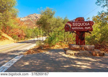 Sequoia National Park, California, United States - July 30, 2019: Sequoia National Park Signboard At