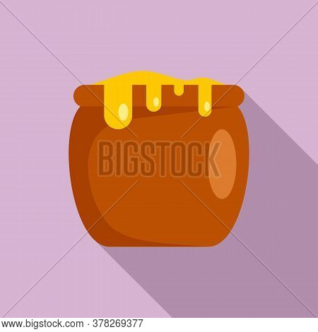 Honey Jar Icon. Flat Illustration Of Honey Jar Vector Icon For Web Design