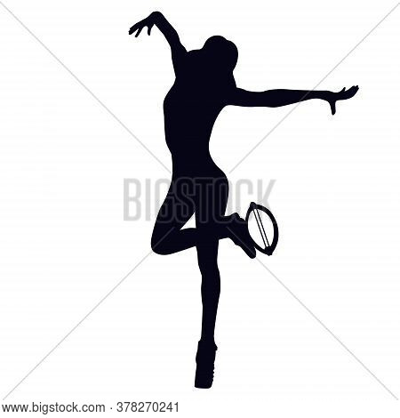 Female Silhouette Doing Seethe - Jump From One Foot To The Other, While The Free Leg Will Touch The