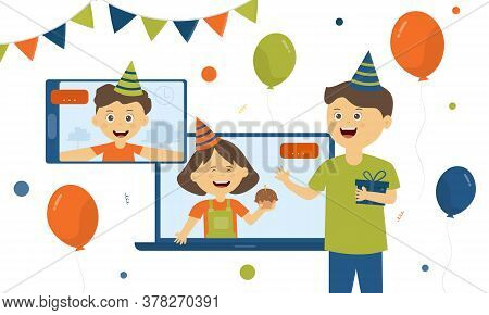A Boy Standing Holding Gift Box Celebrating A Birthday Online Party Video Conference Call  At Home D