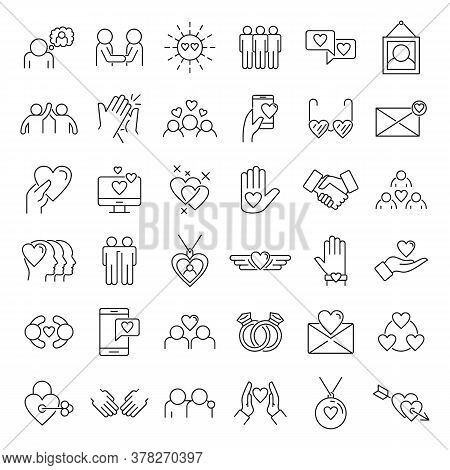 Affection Icons Set. Outline Set Of Affection Vector Icons For Web Design Isolated On White Backgrou