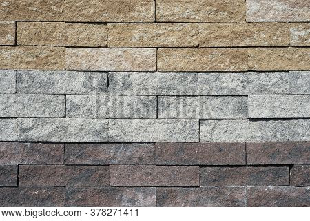 Gray, Brown And Sandy Texture Of Cement Paving Slabs Or Cobblestone For Banner. Mock Up Or Template