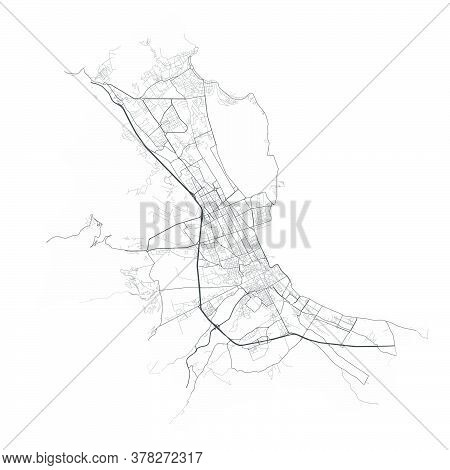 Palermo Map. Detailed Vector Map Of Palermo City Administrative Area. Poster With Streets And Water