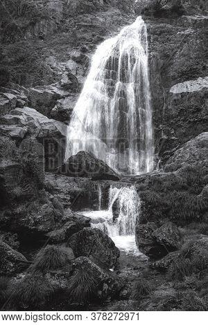 Beautiful Belelle Waterfall In Neda, Galicia, Spain. Black And White
