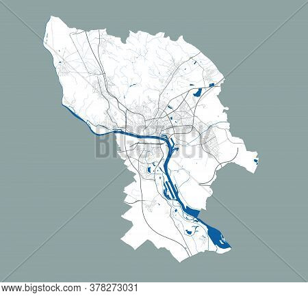 Bratislava Map. Detailed Vector Map Of Bratislava City Administrative Area. Poster With Streets And