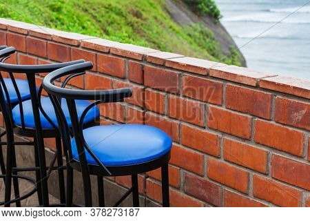 bar stool in a cafe by the ocean