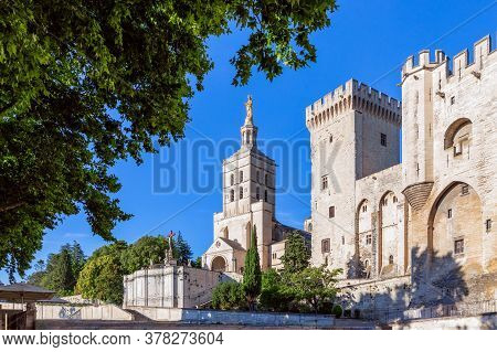 Beautiful View Of Avignon Cathedral (cathedral Of Our Lady Of Doms) And Palace Of The Popes In Avign