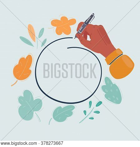 Cartoon Illustration Of Hand Drawn Ovals. Note, Highlight Important Information. Copy Space Place. H