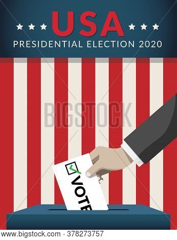 Us Presidential Election 2020 Campaign Concept. Hand Putting Voting Paper In The Ballot Box With Ame
