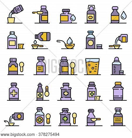Cough Syrup Icons Set. Outline Set Of Cough Syrup Vector Icons Thin Line Color Flat On White