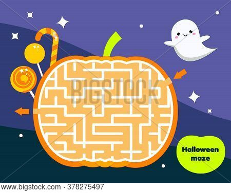Maze Game For Children. Halloween Theme Kids Activity Sheet