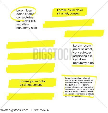 Yellow Marker Text Selection. Yellow Watercolor Hand Drawn Highlight