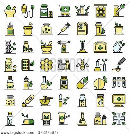 Homeopathy Icons Set. Outline Set Of Homeopathy Vector Icons Thin Line Color Flat On White