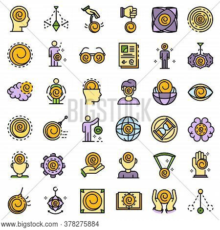 Hypnosis Icons Set. Outline Set Of Hypnosis Vector Icons Thin Line Color Flat On White