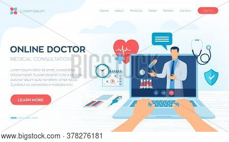 Online Medical Consultation And Support Services Concept. Online Healthcare And Medical Advise. Tele