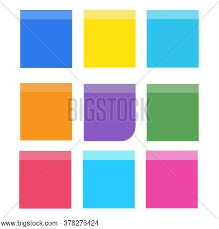 Attached Sticky Note Paper. Colored Announcement Sticker Vector