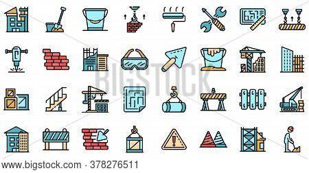 Building Reconstruction Icons Set. Outline Set Of Building Reconstruction Vector Icons Thin Line Col