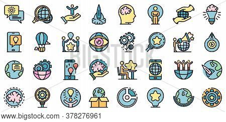 Innovation Icons Set. Outline Set Of Innovation Vector Icons Thin Line Color Flat On White
